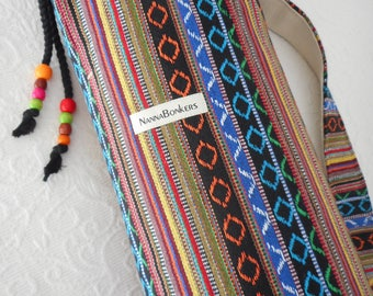 Yoga Mat Bag - Amazing MEXICAN Fabric - black & coloured stripes - roomy, unisex, quiet, extra wide draw string close. PURE COTTON.