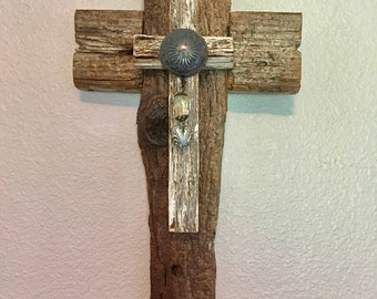 White Unusual Cross -One of a kind reclaimed wood cross, silver flower and leaves