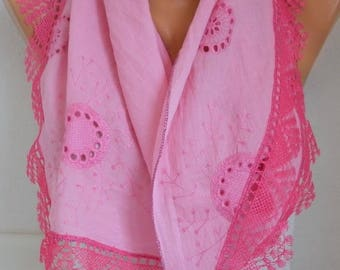Pink Embroidered Floral Cotton Scarf,Summer Accessories,Cowl,Gift For Her mom,Women Fashion Accessories best selling item best selling item