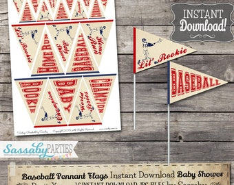 Vintage Baseball BABY Mini Pennant Flags - INSTANT DOWNLOAD - Printable Baby Shower Party Decoration by Sassaby Parties