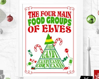 ELF Christmas Poster - 4 Main Food Groups of Elves - INSTANT DOWNLOAD - Printable Xmas, Candy, Candy Canes, Sign, Decor, Decoration,