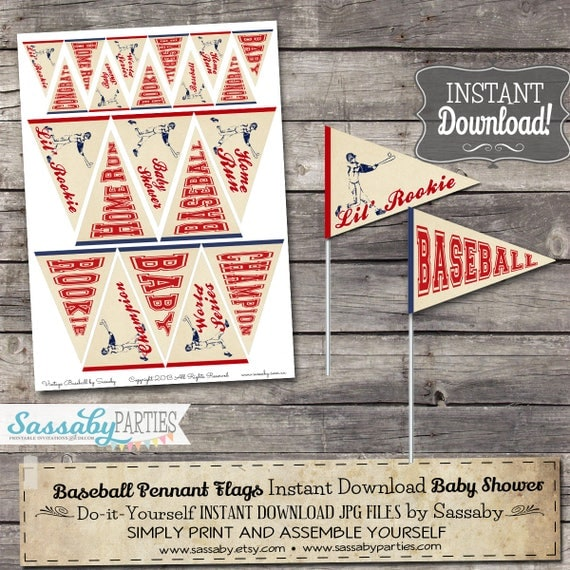 Vintage Baseball Baby Mini Pennant Flags Instant Download