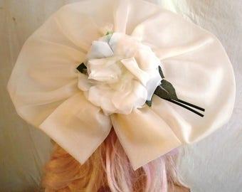 Vintage 1940s White Organdy Hat with Rose Wide Brim Wedding Bridesmaid Hat