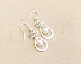Sterling Silver Lotus Flower Pearl Petal Earrings
