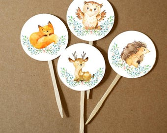 DIY Woodland Creatures Party- Woodland Baby Shower - Woodland Birthday Party - Birthday Party - Fox - Deer - Hedgehog - Owl Print At Home