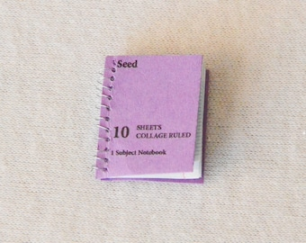 Dollhouse Miniature Spiral Notebook - with Lined Pages - Really Opens - Purple