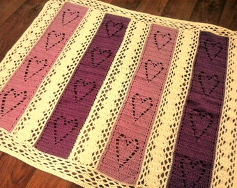 Filet Crochet Hearts and Diamonds Throw Blanket - 4 Panels of Purple Hearts in 2 Shades of Purple with Ivory
