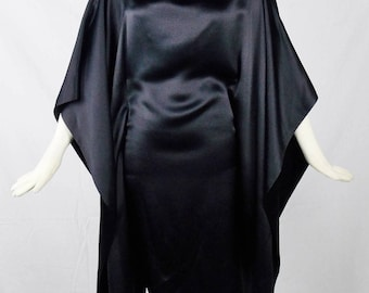 YVES SAINT LAURENT Vintage Evening Black Silk Kaftan Dolman Sleeves Size 36