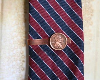 Penny Tie Clip Abe Lincoln Coin Currency Copper - made from a button that looks like a penny