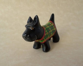 Scottie dog figurine, miniature scottish terrier sculpture, scotty,  animal totem #162