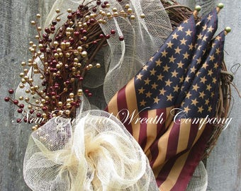 Americana Wreath, Patriotic Wreath, Fourth of July Wreath, Memorial Day Wreath, Elegant Patriotic Wreath, Tea Stained Flag Wreath