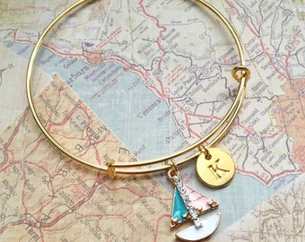 Sailboat charm bracelet, sailboat bangle, expandable bangle, charm bangle, personalized bracelet, initial bracelet, monogram bracelet