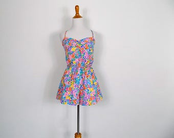 70s Floral Gabar Playsuit / Swimsuit - Size Medium