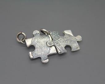 Custom fingerprint puzzle necklace Fingerprint jewelry Actual fingerprint necklace Interlocking puzzle Couples Jewelry Autism