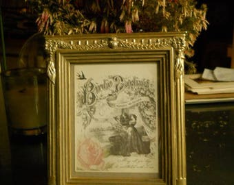Vintage Gold Federal Frame with Columns and Swags and Vintage Print of Victorian Lady, Birds and Pink Rose Easel Back Vintage Photo Frame