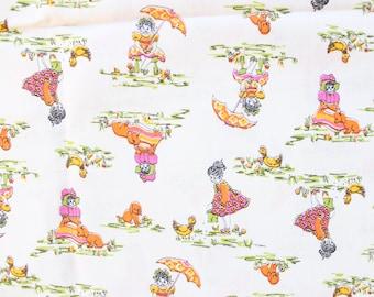 1960's Sweet Best Friend Fabric with Little Girls Ducks Puppy Baby Animals 60s antique umbrella