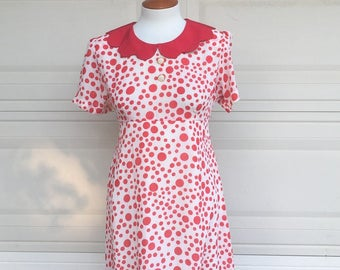 Vintage 80s Mini Dress, Red Polka Dot Dress, Empire Waist Dress, Peter Pan Collar, Puff Sleeve Dress Size M-L