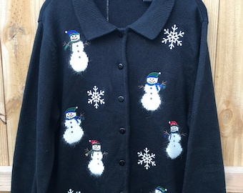 Womans Snowman Ugly Christmas Sweater Size Large / Ugly Christmas Sweater Cardigan