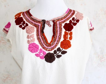 Mexican Embroidered Blouse, White Mexican Blouse, Floral Flower Embroidery, Shirt, Top, Boho