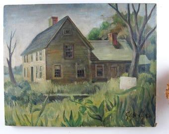antique oil on canvas,oil painting,landscape painting,vintage painting,farmhouse antiques,cottage decor,circa 1940