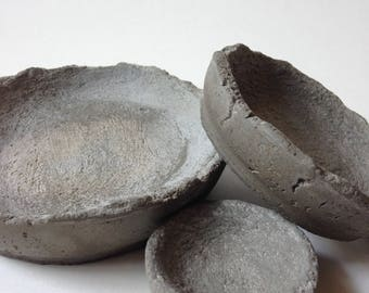 Three small concrete dishes, ring dishes, dresser trays, industrial decor, modern decor, mens decor, trinket dishes, gift idea