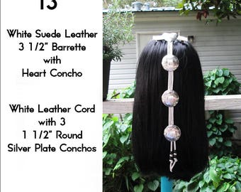 White Leather Cascading Silver Concho Hair Barrette 13""
