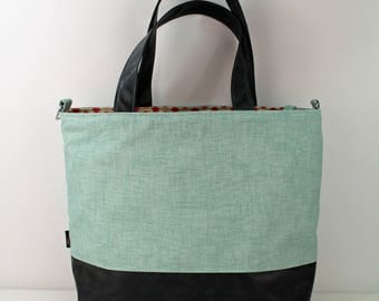 Extra Large Lulu Tote Overnight Diaper Bag - Canal denim and Gray PU Leather -READY to SHIP