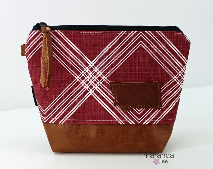 AVA Clutch Medium - Colton Maroon with Montana Patch with PU Leather READY to SHIp