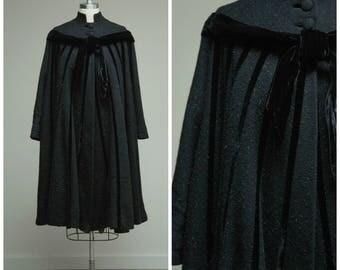 Vintage 1950s Coat • Rendezvous • Black Grey Eyelash Wool Designer Lilli Ann New Look 50s Swing Coat Size Small