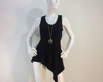Black bamboo tank top with asymmetrical hemline and fitted bodice.