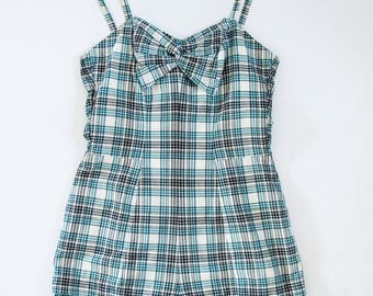 California Vintage 1950s Rockabilly Plaid Play Suit Aqua Black Cream High Waist Shorts Structured Bra Cotton Swimwear
