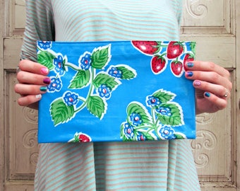 """Strawberry Oilcloth Bag, clutch purse or makeup bag, regular size 10.5"""" by 6.25"""""""