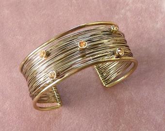 Rhinestone Cuff Bangle Bracelet Open Design Vintage