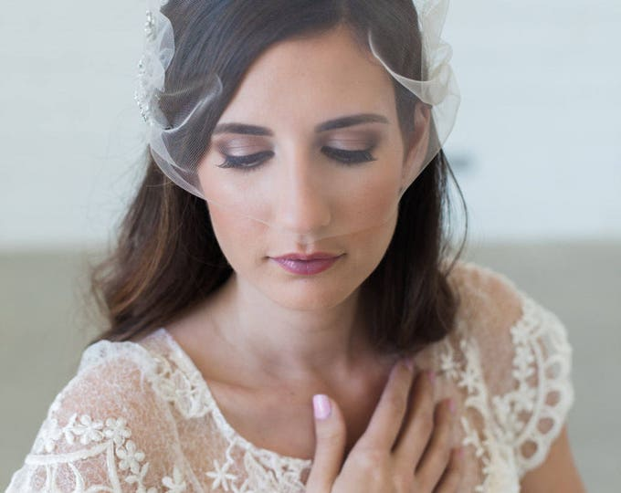 Tulle Birdcage veil, Blusher veil, Tulle Bridal Veil, Tulle wedding veil, simple veil, short veil, Bandeau Birdcage Veil, wedding veil