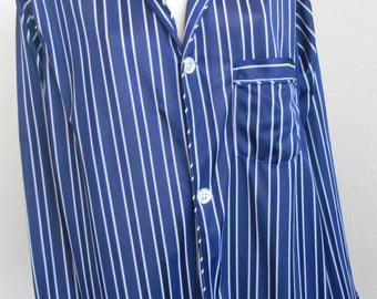 Vintage Pajama Top Men's Silky Nylon by Norm Thompson Blue and White Pinstripe Medium