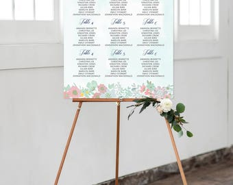 Reception Seating Chart, Wedding Reception Sign, Day Of Stationery - Country Rose Soft Pinks & Mint/Roses (Style 0009)