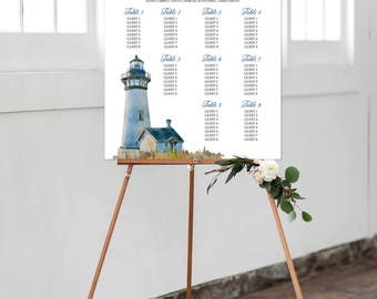 Seating Chart on Foam Core - Beach Wedding/Lighthouse/Watercolours/Coastal (Style 0004)