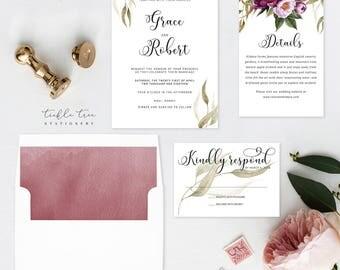 Wedding Invitation Suite, Semi Custom - Wedded Bliss (Style 13758)