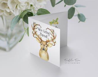 Wedding Invitations, Semi Custom (Trifold) - Deer Forest (Style 13684)
