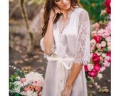 Bridal Robe - Light Ivory silky satin, bridal white Chantilly lace trim, Perfect Gift for the Bride-to-be