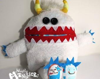 Mini Cuddle Monster pillow, Yeti  Snow monster, Yeti Plush Monster, pajama eater pillow, bedtime buddy, little monster, nightmare eater