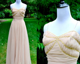 1940's Pale Peach Ruched Gathered Chiffon Gown / Soft Pink Grecian Vintage Dress / Size 6