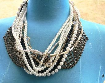bridal wedding necklace with black rhinestones