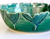 Emerald Ginkgo Leaf Serving Bowl - Hand Thrown - One of a Kind - Modern Home Decor - READY TO SHIP