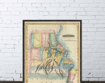 Missouri Map Etsy - Mossouri map