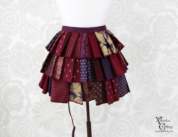 "Steampunk Ruffle Bustle Top Skirt - 3 Layer, Sz. S - Burgundy & Purple Patchwork - Best Fits up to 42"" Waist or Upper Hip"