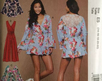 McCall's M7577, Size 14-16-18-20-22, Misses' Romper, Jumpsuit and Belt Pattern, UNCUT, Loose Fitting, Pull On, Faux Wrap, Ruffles, 2017