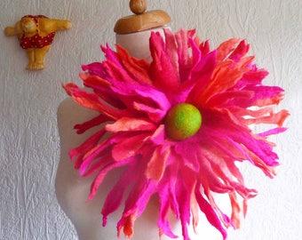 flower brooch, large felted flower brooch, corsage, pin, handmade, felt flower, lagenlook, MADE TO ORDER, custom made, bespoke, eco friendly