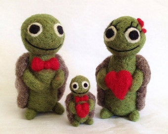 The Turtle Family: AdoraWools Needle Felted Gift