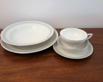 """Johann Haviland  6 PC Setting  #23 """"Tuxedo"""" Dinner Bread Footed Cup Saucer Soup And Vegetable Bowls Tea Cup With Saucer Service for 8"""